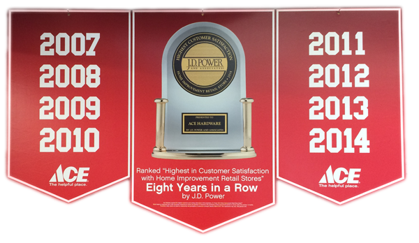 Ace Hardware is a cosistent recipient of the J.D. Power award.